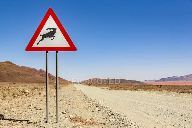 Attention wild animals sign on a long dry road, Namib Desert, Namib-Naukluft National Park; Namibia — Stock Photo