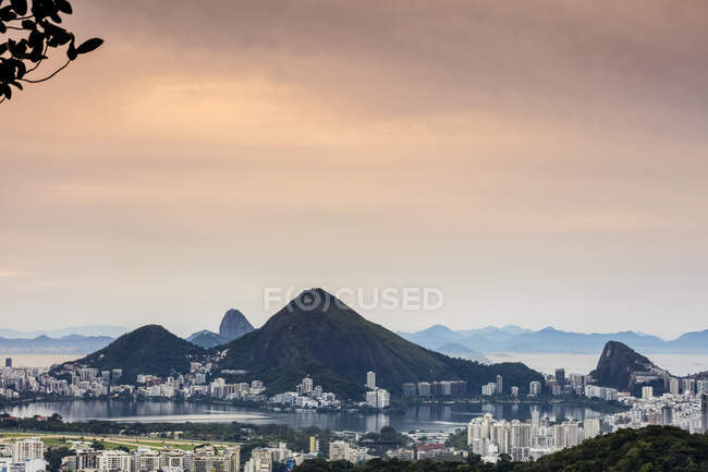 Sunrise over Rio De Janeiro viewed from Rocinha Favela; Rio de Janeiro, Rio de Janeiro, Brazil — Stock Photo