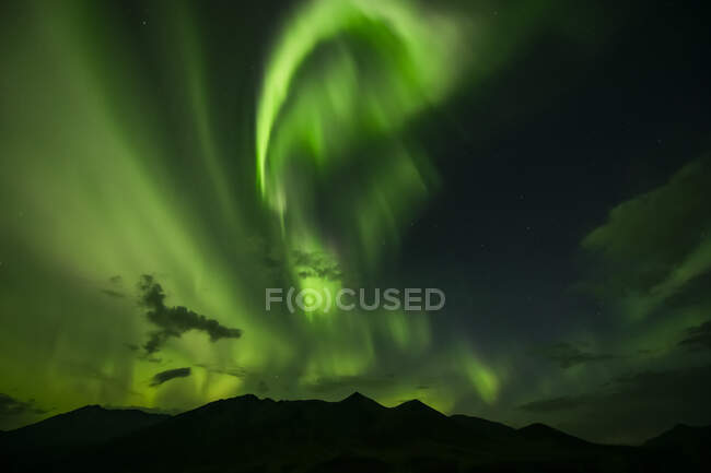 Northern Lights glowing in brilliance; Yukon, Canada — Stock Photo