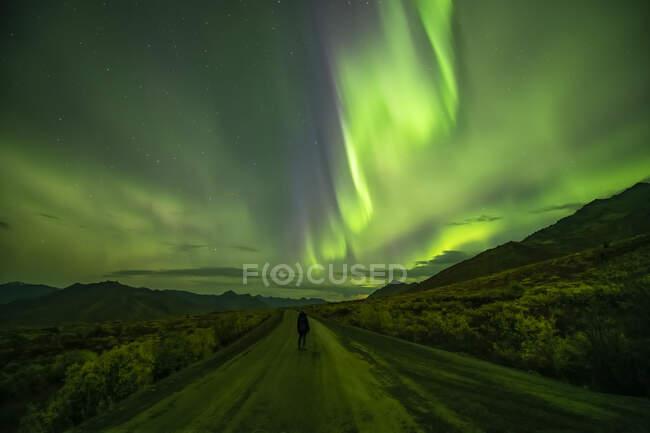 Mujer parada en la autopista Dempster bajo la aurora boreal; Yukón, Canadá - foto de stock