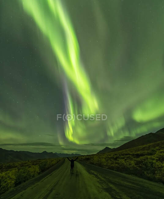 Woman standing on the Dempster Highway under the Northern Lights; Yukon, Canada — Stock Photo