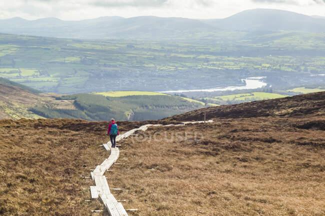 Paseo de tabla de madera que conduce a través de un páramo en la montaña con un río y campos en la distancia; Killaloe, Clounty Clare, Irlanda - foto de stock