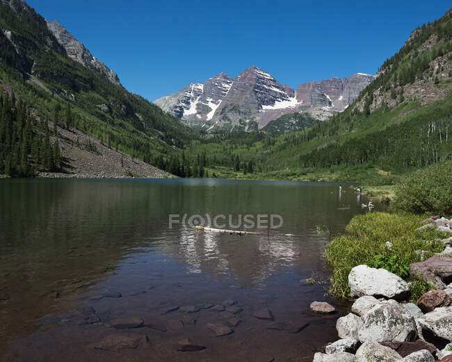 Maroon Bells, The Most Photographed Mountains In North America; Aspen, Colorado, Estados Unidos da América — Fotografia de Stock