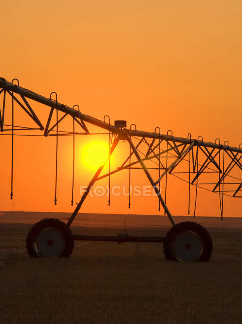 Agriculture - Center pivot irrigation system silhouetted at sunrise on a hay field. Alberta, Canada. — Stock Photo