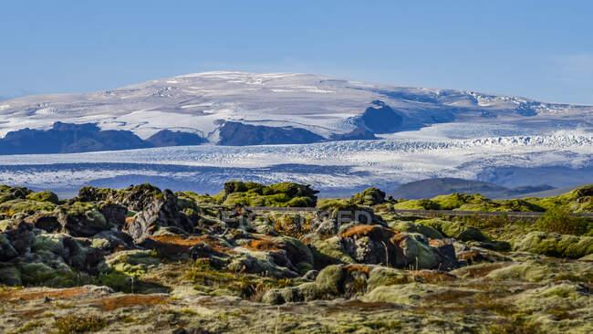 Terreno robusto con tundra colorida en primer plano y terreno cubierto de nieve congelada en el fondo; Skaftarhreppur, Región Sur, Islandia - foto de stock