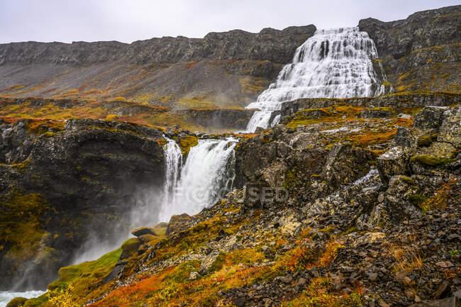 Dynjandi (noto anche come Fjallfoss) è una serie di cascate situate nei fiordi occidentali, in Islanda. Le cascate hanno un'altezza totale di 100 metri; Isafjardarbaer, Westfjords, Islanda — Foto stock