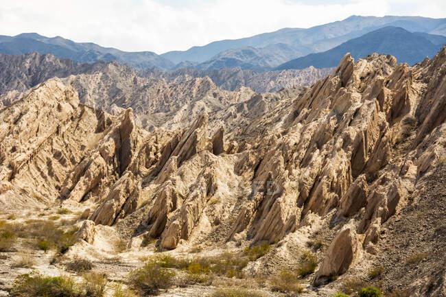 Unique yellowish desert rock mountain; Cafayate, Salta, Argentina — Stock Photo