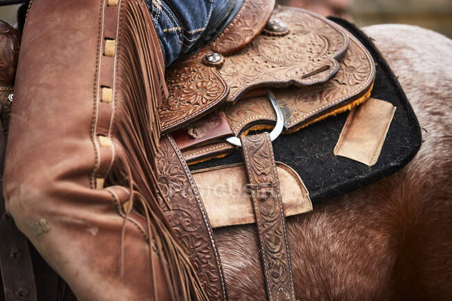 Leatherwork and closer details of a saddle and chaps to the left side; Eastend, Saskatchewan, Canada — Stock Photo