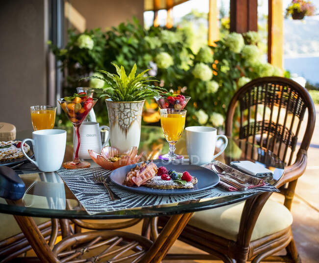 A lovely breakfast served at a bed and breakfast accommodation; British Columbia, Canada — Stock Photo