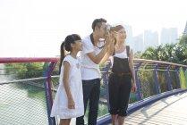Family having fun exploring Gardens by the Bay, Singapore — Stock Photo