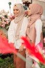 Due giovani ragazze musulmane in negozio di fiori avendo una conversazione divertente — Foto stock