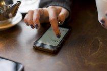 Cropped image de la femme à l'aide de smartphone dans café — Photo de stock