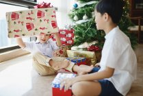 Happy asian brothers celebrating Christmas together at home — Stock Photo