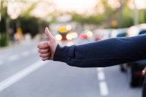 Imagen recortada de la mano femenina que muestra el signo de autoestop - foto de stock
