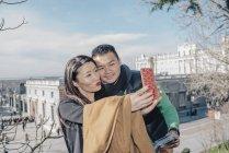 Couple chinois en Madrid, Espagne — Photo de stock