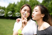 Милий азіатських подруг, роблячи мильні бульбашки в парку. — стокове фото