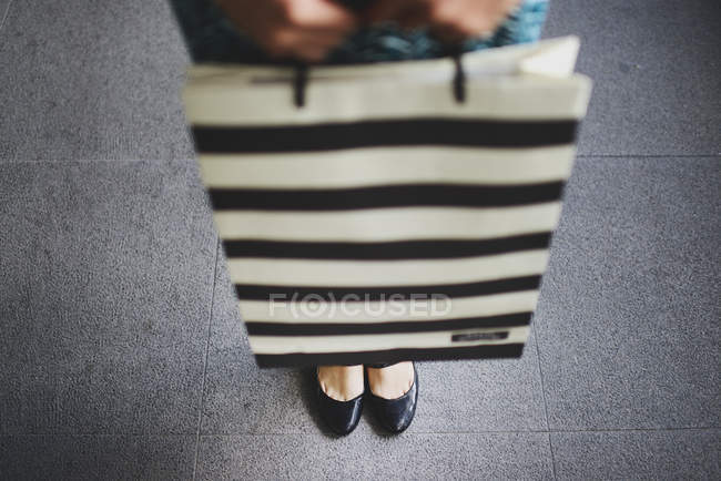 Cropped image of young asian woman in shopping mall with bag — Stock Photo
