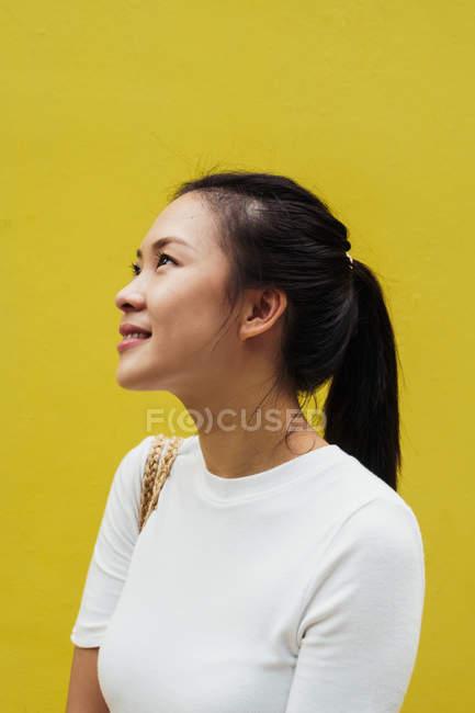 Молодий привабливою азіатські жінки портрет проти жовтому фоні — стокове фото