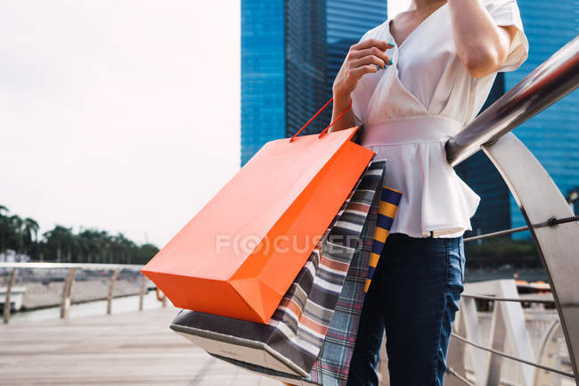 Cropped image of woman with shopping bags — Stock Photo