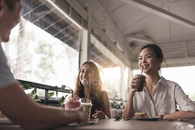 Gruppe von Freunden in einem Restaurant und Trinken Getränke — Stockfoto