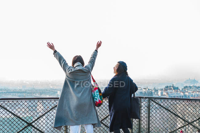 Young adult asian female friends in park, rear view — Stock Photo