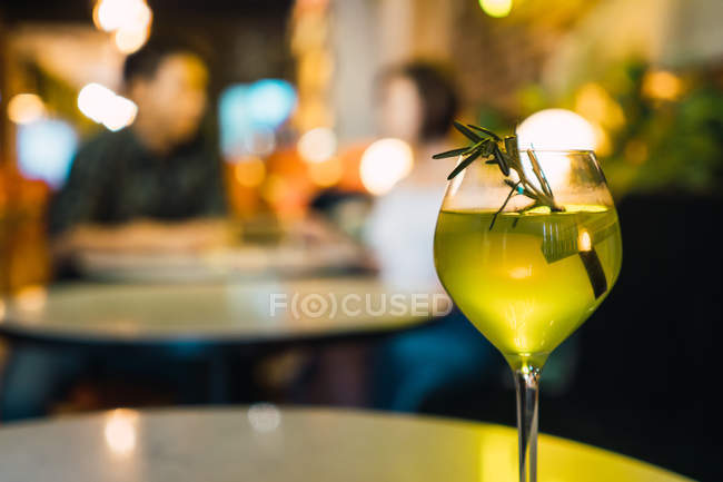 Closeup view of glass in comfortable bar — Stock Photo