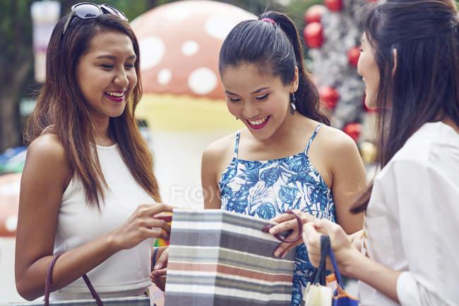 Молодий привабливою азіатських жінок на різдвяні покупки — стокове фото