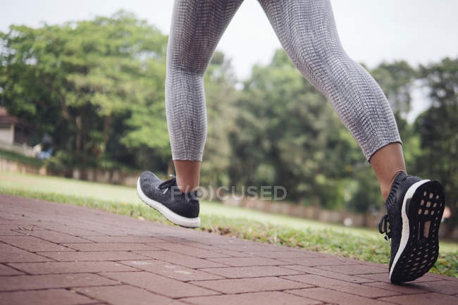 Cropped image of young sporty woman running in park — Stock Photo