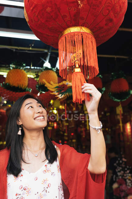 Young asian woman in chinatown — Stock Photo