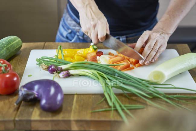 Cortada a imagem da mulher salada na cozinha a cozinhar — Fotografia de Stock