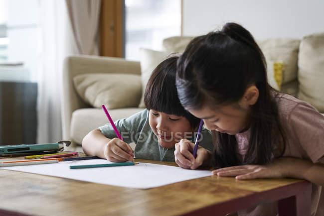 Siblings drawing and colouring at home — Stock Photo