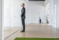 Бізнесмен, стоячи в офісного приміщення — стокове фото