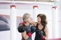 Frauen in Führungspositionen in Boxhandschuhe — Stockfoto