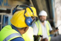 Quarry workers in protective clothing — Stock Photo