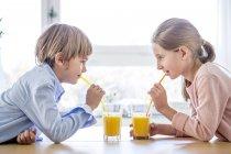 Irmão e irmã bebendo suco de laranja — Fotografia de Stock