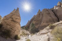 USA, New Mexico, Pajarito Plateau, Sandoval County, Kasha-Katuwe Tent Rocks National Monument, desert valley with bizarre rock formations — Stock Photo
