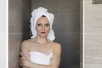 Woman wearing towels — Stock Photo