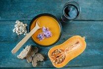 Bowl of creamed pumpkin soup — Stock Photo
