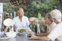 Старші жінки порції обід — стокове фото
