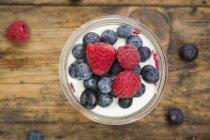 Verre de yaourt grec — Photo de stock