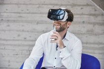 Man wearing VR glasses — Stock Photo
