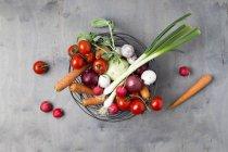 Корзина из проволоки с различными овощами — стоковое фото