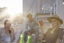 Friends having rooftop party — Stock Photo