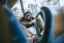 Woman traveling by bus — Stock Photo
