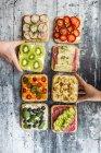 Vários sanduíches decorados — Fotografia de Stock