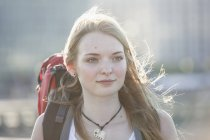 Portrait of a teenage girl, travellng with backpack — Stock Photo