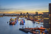 Niederhafen at sunset, Hamburg — Stock Photo