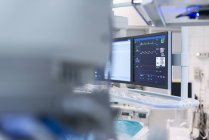 Close up of Anaesthesia monitor in catheter lab — Stock Photo