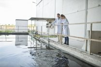Scientists observing water surface — Stock Photo