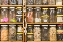 Glass jars with assorted filling — Stock Photo